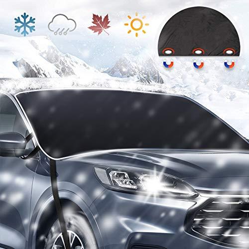 JASVIC Auto Frontscheibenabdeckung Schnee-Windschutzscheibe Abdeckung,Magnetkanten Autoscheibenabdeckung, Allwetter Frostschutz für EIS Schnee, Fit für die meisten Autos, LKWs, SUV (210x120cm)