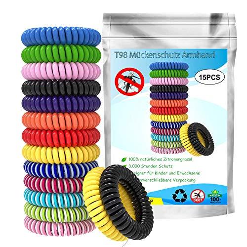 T98 Mückenschutz Armband, Mückenarmband Insektenschutz 100% Natürlicher Pflanzenextrak Mückenarmbänder, Anti Mücken Armband Gürtel für Kinder geeignet Erwachsene Indoor und Outdoor Camping