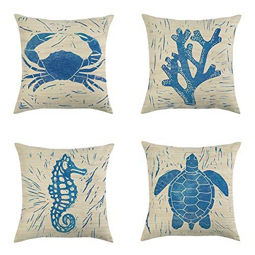 QMZ Fundas de Cojines Pintado a Mano Azul Viento océano Suave Concha Criatura Caballito de mar Pulpo Funda de Almohada Cuadrada 4 Piezas (sin núcleo) decoración de sofá