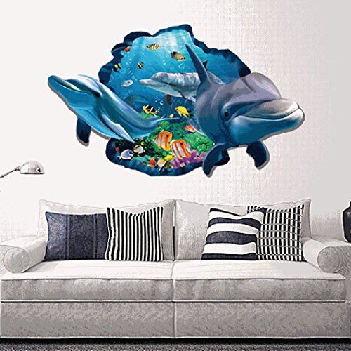Ecurson 3D Sea Dolphin Wall Sticker Decal Art Decor Vinyl Home Room Window Door Mural for Living Room Bedroom TV Background Kid's Nursery Romm Family