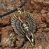 Davitu 1 Amulet Jewelry Cat Bastet Necklace Ancient Egyptian Bastet Statue Egyptian Sphinx Black Cat Bastet Pendant Egypt Cat with Wing - (Metal Color: Antique Bronze, Length: 58)