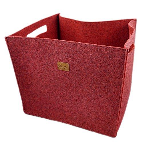 3-delige set vilten opbergkist opbergdoos vilten mand kist vilt, mand, kist, dozen, opbergrek voor IKEA rek, kofferbak, kelderrek, plankmand 3 stuks, 3 stuks, rood gemêleerd (rood) - Filzboxen