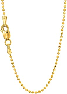 Available from 16-24 inches LoveBling 14K Yellow Gold 1.3 mm Solid Diamond Cut Franco Chain Necklace with Lobster Lock