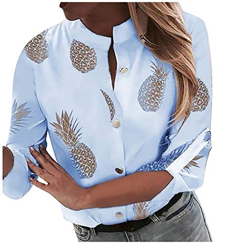 Geilisungren Damen Elegant Stehkragen Knöpfe Langarm T-Shirt Ananas Druck Freizeit Hemd Große Größen Bluse Lose Shirts Oberteile Tops für Frauen