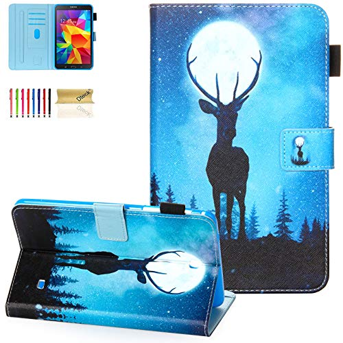 T330 Case,Galaxy Tab 4 8.0 Case,Dteck Lightweight PU Leather Smart Case Adjustable Stand Auto Wake/Sleep Folio Flip Wallet Case for Samsung Galaxy Tab 4 8.0 inch 2014 SM-T330/T331/T335,Moon Elk