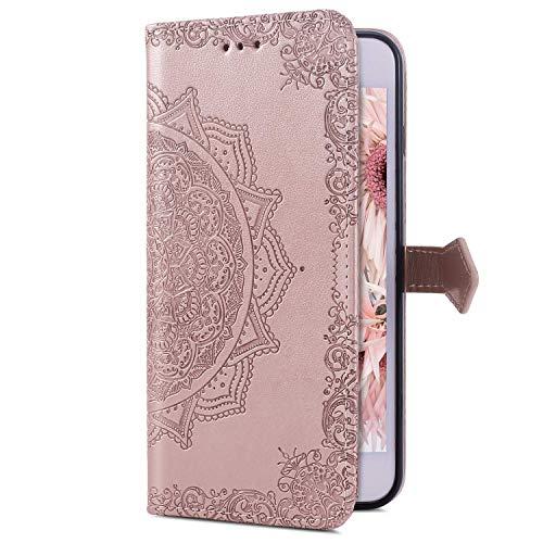 Uposao Kompatibel mit Huawei Honor View 20 Handyhülle Leder Hülle Mandala Blumen Muster Brieftasche Klapphülle Flip Cover Schutzhülle Bookstyle Wallet Tasche Magnet Kartenfach,Rose Gold