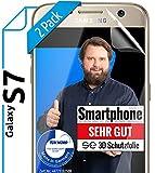 [2 Stück] 3D Schutzfolien kompatibel mit Samsung Galaxy S7 - [Made in Germany - TÜV Nord] – HD Displayschutz-Folie - Hüllenfreundlich – Transparent – kein Schutz-Glas sondern Panzer-Folie TPU