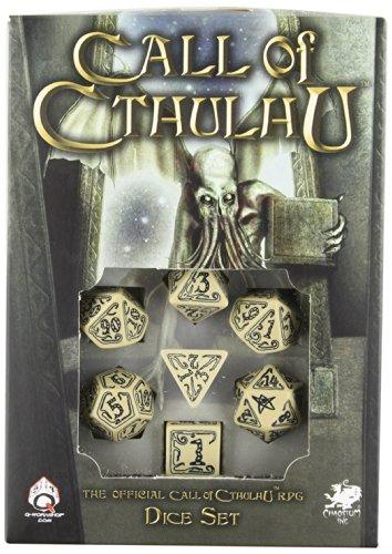 Q Workshop Conjunto de dados ornamentados de Call of Cthulhu RPG bege e preto, 7 peças poliédricos