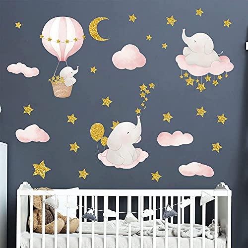 Stickers Muraux Enfants Autocollant Mural Bebe Garcon Fille Chambre Décoration Animaux Éléphant...