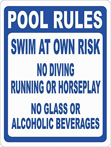 Aluminium-Metallschild Pool Rules Swim Own Risk No Diving Running Schild 20,3 x 30,5 cm