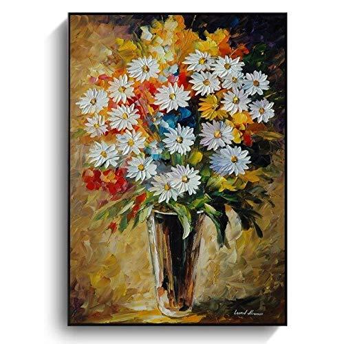 GBB - Dipinti a olio su tela, motivo: margherite, poster astratti con fiori e stampe per la casa, soggiorno, decorazione da parete, 20 x 30 cm