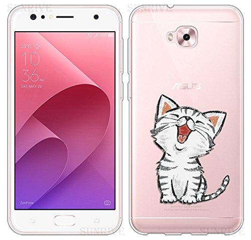 Sunrive Für Asus Zenfone 4 Selfie Pro ZD552KL 5,5 Zoll Hülle Silikon, Transparent Handyhülle Schutzhülle Etui Hülle Backcover(TPU Katze 2)+Gratis Universal Eingabestift