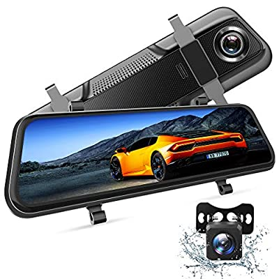 """VanTop H609 Dual 1080P Mirror Dash Cam with 10"""" IPS Full Touch Screen w/Waterproof Backup Rear View Camera, Night Vision, Parking Monitor, Loop Recording"""