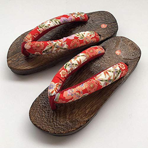 JJIAOJJ Pantofole di Legno Giapponese Geta Zoccoli Giapponese Tradizionale Cinese Stampato Kimono in Legno Flip Flops casa Scarpe da Donna Sandali Esterni Costume Cosplay-3_37 per Le Donne Uomini