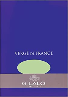Verge de France by G. Lalo Writing Tablet, 50 Sheets of 100g Pistachio Paper, 5.75 by 8.25 inches