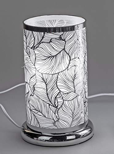 Tischlampe, Nachttischlampe Leuchte BLÄTTER H. 24cm D. 15cm mit Touch silber Formano