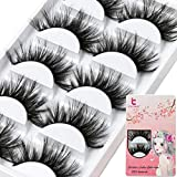 6D Mink Eyelashes Faux Eyelash Dramatic False Eye Lashes Fluffy Fake Eyelashes Extension Long Handmade Makeup Resuable Black (37)
