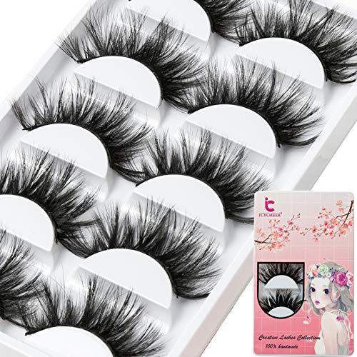 ICYCHEER Premium Falsche Wimpern 5 Paar Natürliche 6D Wimpern Natürlicher Look Für Makeup Wimpern Verlängerung Pure Handgemacht mit Unsichtbares Band Wiederverwendbar (7)