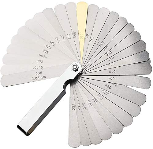 Galgas de espesores, calibre de válvulas, herramienta de ajuste de válvulas, 32 hojas de calibre de espesores de acero inoxidable de alta precisión