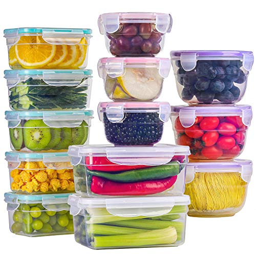 BAYCO 13 Pack Food Storage Containers with Lids Plastic Food Containers with Lids Leak Proof Airtight Storage Container Sets for Kitchen Easy Snap Lock Lunch Box BPAFree