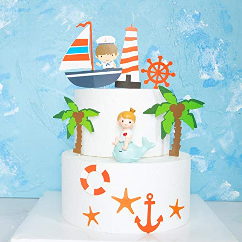 PureArte DIY Happy Birthday Ocean Sailing Yacht Boat Nautical Pirate Ship Lighthouse Theme Cake Cupcake Topper For Kids Party Decoration Props