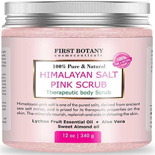 100% Natural Himalayan Salt Full Body Scrub 12 oz with Lychee Oil and Sweet Almond Oil- Best Body scrub, Deep Skin Exfoliator, Anti Cellulite, Body Wash, Moisturizer & Detox