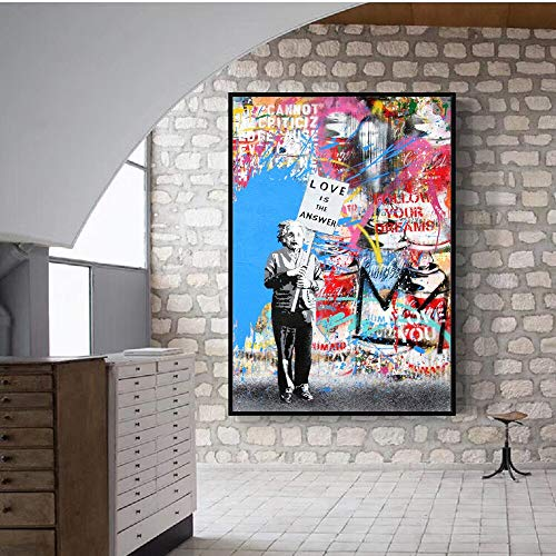 Prominente Einstein Street Graffiti kunst canvas Edition abstracte Pop Art canvas schilderij poster en druk Love Life Wall Canvas50x70cm