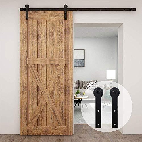 CCJH - Sistema de puerta corredera, 300 cm, kit de riel para puerta corredera, color negro