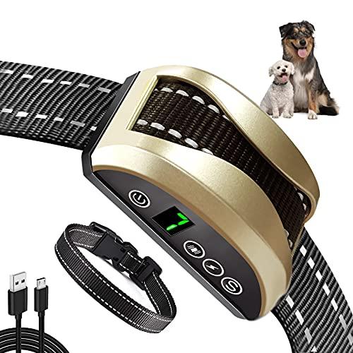 Collar Antiladridos-Collar Adiestramiento Perros con Vibración, Sonido, Collar Antiladridos Impermeable Recargable para Perros Pequeños, Medianos y Grandes