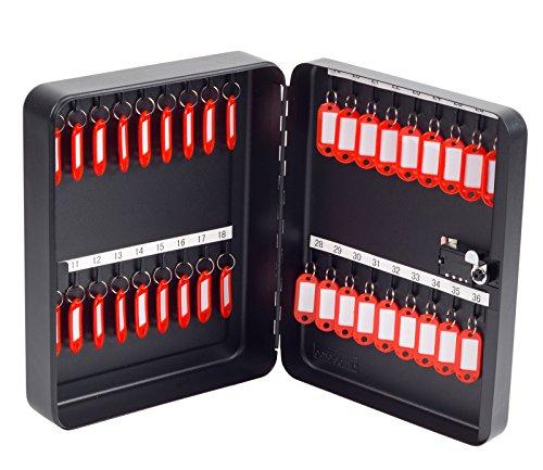 OfficeForce® Schlüsselkasten mit Zahlenschloss/Schlüsselschrank, Modell Tresor für 36 Schlüssel, Wandmontage, schwarz (20092)