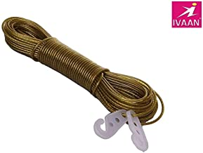 Royals 20 meter PVC Coated Steel Anti-Rust Wire Rope Washing Line Clothesline with 2 Plastic Hooks (Multi Color)