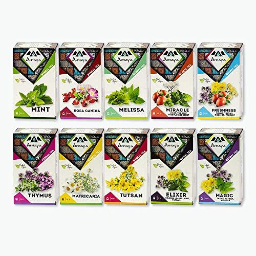 Organic Kräutertee Geschenkset, 200 Teebeutel Geschenkset | 100% natürliche Inhaltsstoffe | Teebeutel-Sortenpaket (10er-Pack, insgesamt 200 einzeln verpackte Teebeutel)