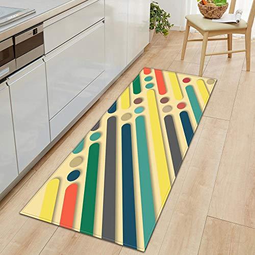 XIAOZHANG Alfombrilla Cocina Franela Suave Arte De Color Simple Antideslizante Alfombrilla De Baño Sala De Estar Cocina Dormitorio De Interior Exterior 60X180Cm