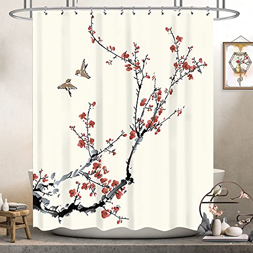 Riyidecor Red Floral Shower Curtain Cherry Sakura Pink Plum Blossom Buds Asian Style Japanese Chinese Painting Birds Fabric Polyester Waterproof Fabric 72Wx72H Inch 12 Pack Plastic Hooks RY-OUCG