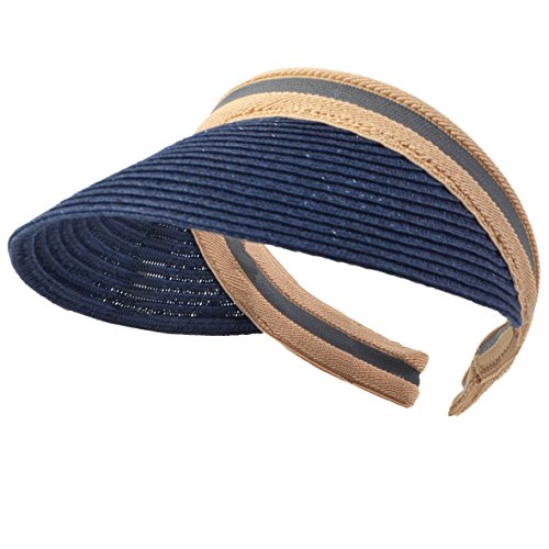 HISSHE Damen Golf Visier Strand Stroh Sonnenhut Visoren Hüte (Marine)