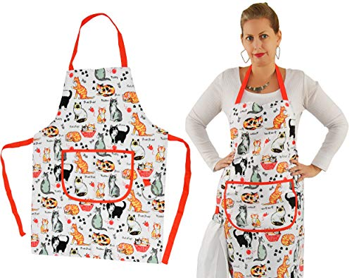 Home-X 100% Cotton Canvas Cat-Print Kitchen Apron with Stainless Steel Ring Holder for Dish Towels, Adjustable Strap, All Over Print, Apron with Pockets