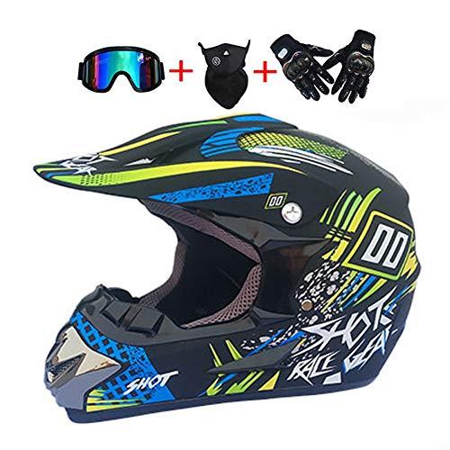 LEENY Motocross-Helme, Kinder Fullface Crosshelme Set mit Handschuhe/Maske/Brille, 4 Jahreszeiten Motorradhelm Damen Herren Motorrad-Off-Road-DH-Enduro-Helm-ATV-MTB-BMX-Helm, Schwarz Blau,XL(58~59cm)
