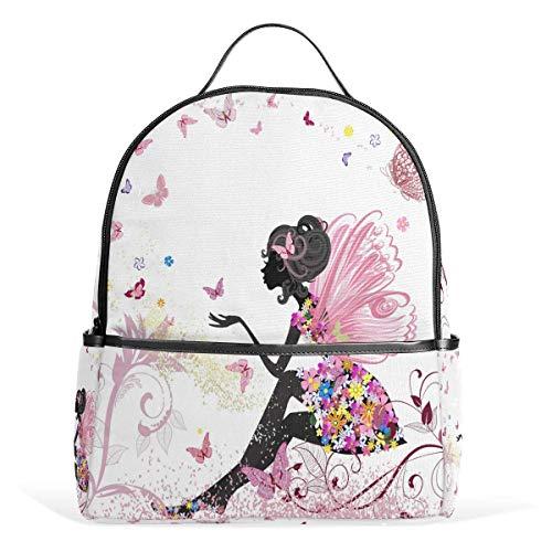 High School Bookbag Bag,Laptop Backpacks for Men Women,Travel Daypack,Unisex Rucksack Flower Fairy Butterfly