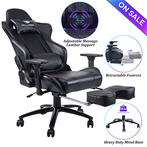 Blue Whale Massage Gaming Chair - Big and Tall 350lbs High Back Racing Computer Desk Office Chair Swivel Ergonomic Executive Leather Chair with Footrest and Adjustable Armrests (8280Black)