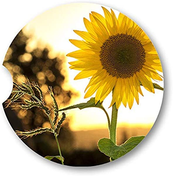 Simulated Oil Painting Autumn Sunflower Sandstone Car Coasters Set Of 2