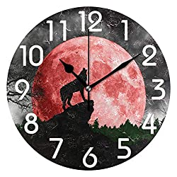 Naanle Magic Wolf Howling at Red Moon Print Round Wall Clock Decorative, 9.5 Inch Battery Operated Quartz Analog Quiet Desk Clock for Home,Office,School