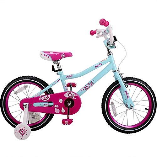 Bicicleta de 12 pulgadas de los niños Paris niña azul bicicleta de los niños de color rosa con ruedas de entrenamiento en forma de V almohadilla y niñas
