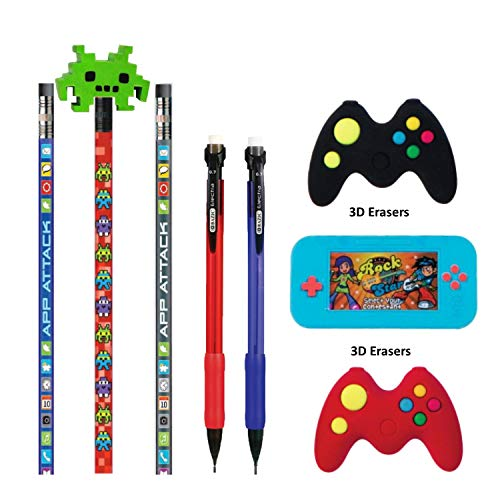 Kids Video Gamer Pencil Pouch with Coordinating Stationary Accessories-Pencils, Pens, Erasers & More- Unique Back to School Supplies & Stocking Stuffers (No Pouch - Pencils & Erasers Only)