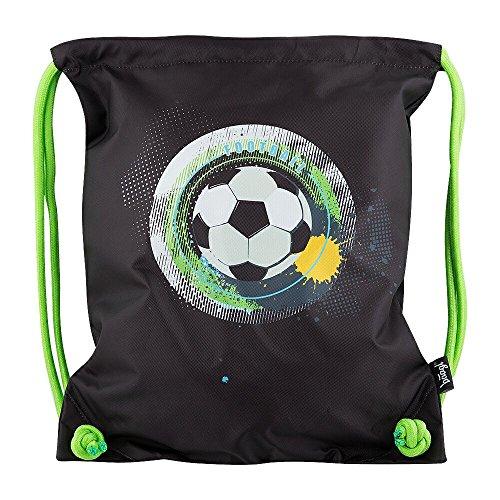 Baagl Turnbeutel für Junge, Wasserdichte Schuhbeutel für Kinder, Schule und Kindergarten Sportbeutel, Sportrucksack (Fußball - Ball)