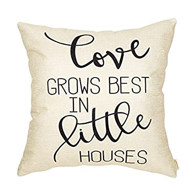 Fahrendom Love Grows Best in Little Houses Farmhouse Style Inspirational Quote Cotton Linen Home Decorative Throw Pillow Case Cushion Cover with Words for Sofa Couch 18 x 18 Inch