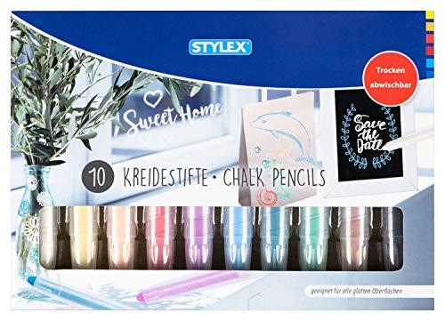Stylex 28305 - 10 Kreidestifte zum dekorativen Bemalen und Gestalten von Glas und glatten Oberflächen, Farben wasserlöslich und trocken abwischbar, ideal für Fensterbilder