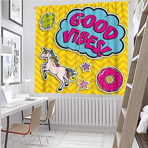 Good Vibes - Cortina de color resistente al desgaste, diseño colorido y divertido, diseño de unicornio mágico, diseño de burbujas y rosquilla, tela impermeable, 42 x 84 pulgadas, multicolor