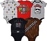Star Wars Baby Boys 5 Pack Bodysuits Darth Vader Chewbacca Storm Trooper 0-3 Months