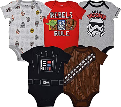 Product Image of the STAR WARS Baby Boys 5 Pack Bodysuits Darth Vader Chewbacca Storm Trooper 3-6...