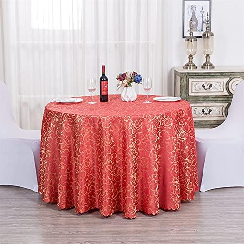 Liveinu Tovaglia in jacquard, rotonda, lavabile, con protezione antimacchia, colore e dimensioni a scelta, 320 cm, rosso, 320 cm, rosso 320 cm